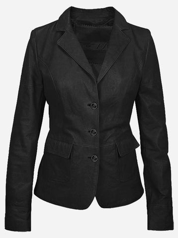 Luxurious 3 Button Women's Black Leather Blazer