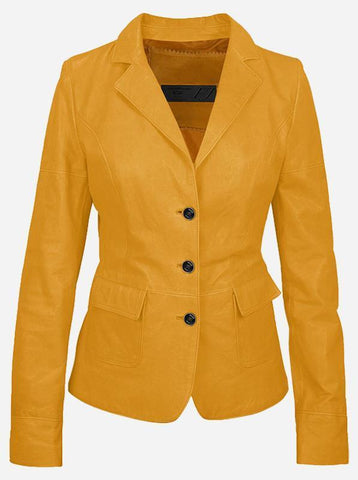 Luxurious 3 Button Women's Yellow Leather Blazer
