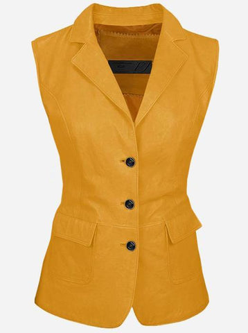 Luxurious 3 Button Women's Yellow Leather Vest