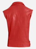 Men Biker Red Leather Vest
