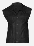Men Black Leather Biker Vest