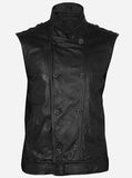 Men Reefer Black Leather Vest