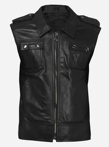 Men Regular Fit Black Leather Vest