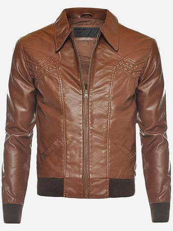 70's Look Bomber Men Tan Leather Jacket