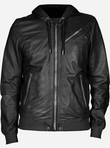 Men's Black Bomber Leather Jacket with Hood