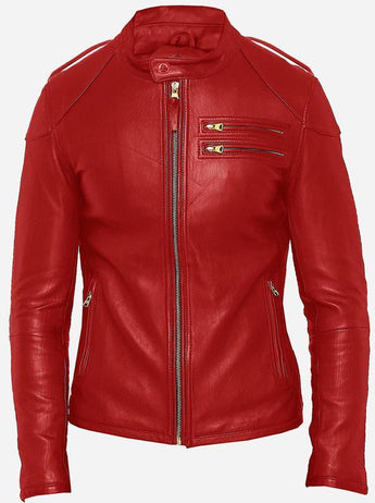 Men's Red Leather Biker Jacket