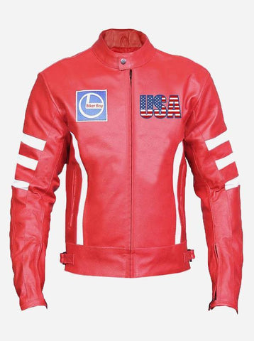Men's USA Red Leather Motorcycle Jacket