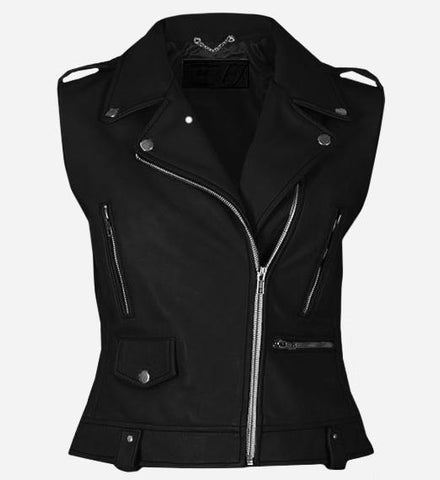 Party Wear Black Leather Vest for Women
