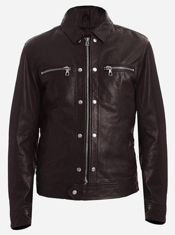 Party Wear Cropped Brown Moto Leather Jacket Men