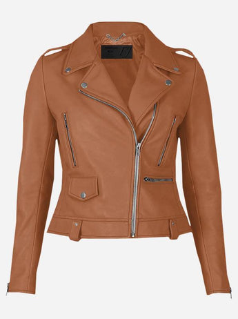 Party Wear Tan Leather Jacket for Women