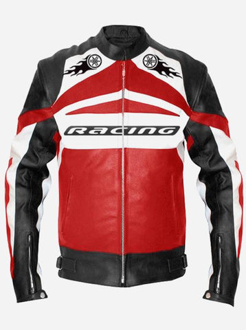 Men Red Leather Motorcycle Jacket