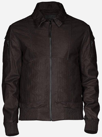 Quilted Look Men Brown Street Style Bomber Leather Jacket