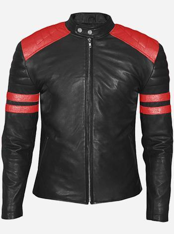 Red and Black Men's Leather Biker Jacket