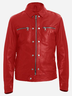 Red Men's Spiked Leather Jacket