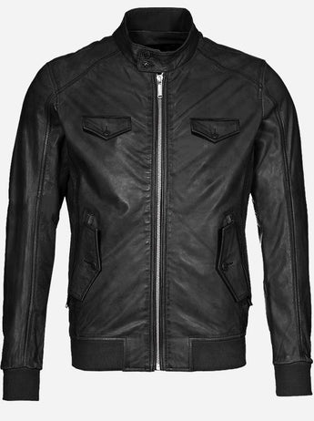 Regular Fit Black Leather Jacket for Men