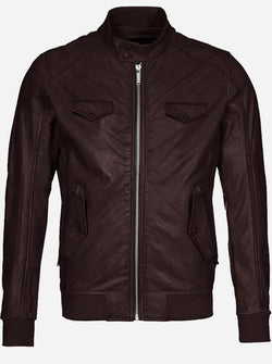 Regular Fit Men Brown Winter Leather Jacket