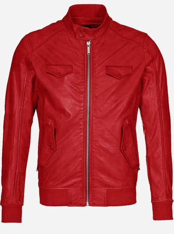 Regular Fit Red Leather Jacket for Men