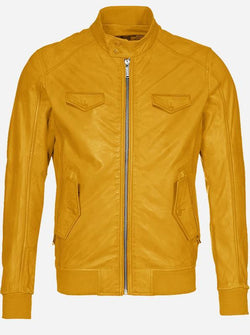 Regular Fit Yellow Leather Jacket for Men