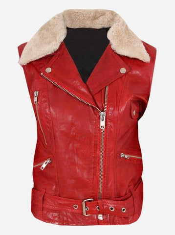 Women's Fur Leather Vest