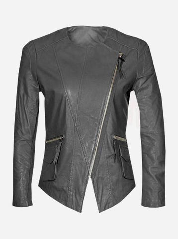 Collarless Women Gray Leather Jacket
