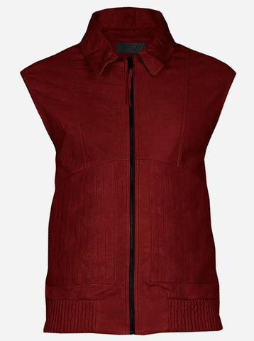 Soft Men Bomber Maroon Leather Vest