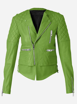 Quilted Women Green Leather Jacket