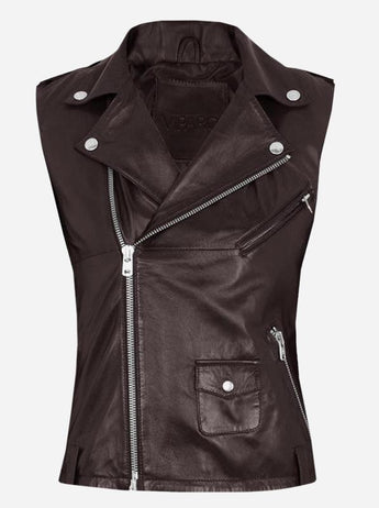 Street Style Women Brown Leather Fitted Moto Vest