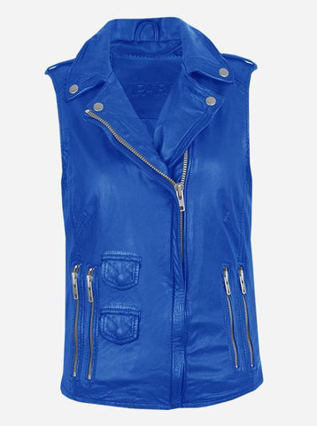 Timeless Moto Women's Blue Leather Vest