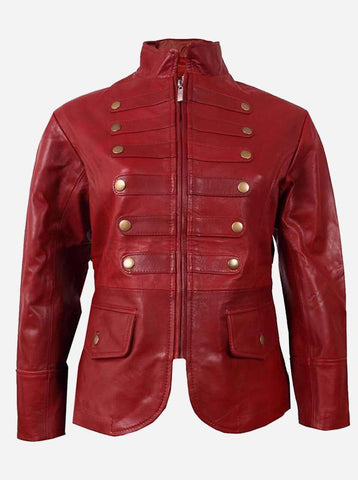 Women Military Maroon Leather Jacket