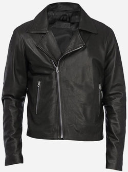Winter Wear Men Black Double Rider Leather Jacket