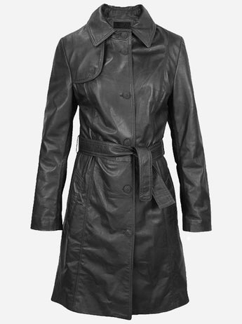 Winter Wear Women's Black Trench Leather Coat
