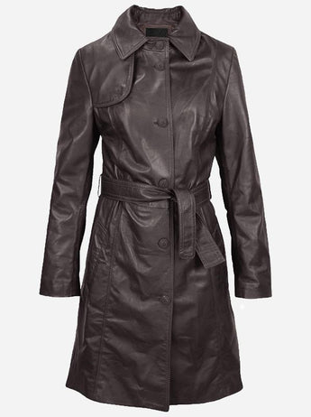 Women's Brown Trench Leather Coat