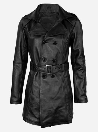 Women's Long Black Leather Winter Coat