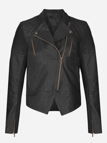 Women Black Winter Leather Jacket