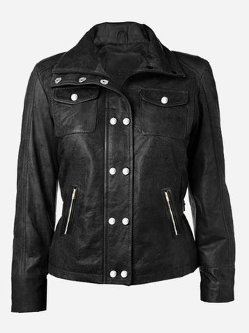 Women Distressed Black Leather Jacket
