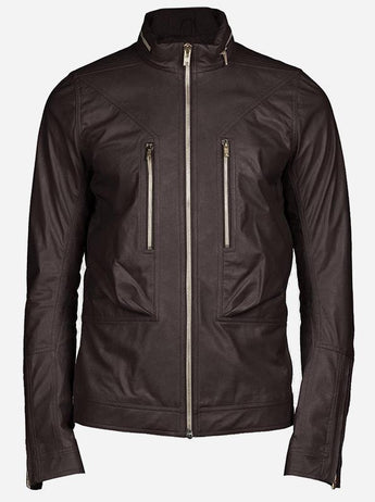 Zipper Men Brown Biker Style Designer Leather Jacket