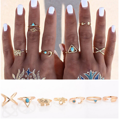 7pcs Bohemian Ring Set