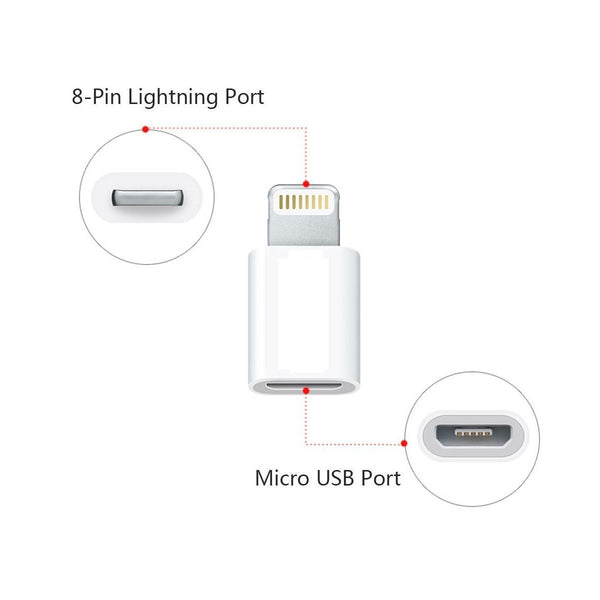 Micro USB to 8 Pin Lightning Converters Android Micro USB Transfer to Apple IOS Lightning Port, Compatible for iPhone5/5S/6/6S/6 Plus/6S Plus/SE and Android Phones, Pack of 5