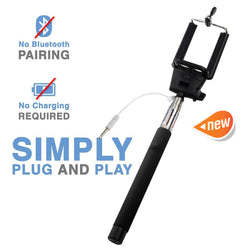 Portable Wired Selfie Stick No Bluetooth Pairing Sturdy Design Best Pocket Sized Cable Monopod