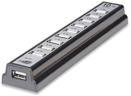 10-Port Powered Hi-Speed USB 2.0 Desktop Hub - Manhattan 161572