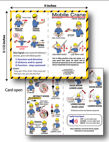 Mobile Crane Hand Signals Folding Cards