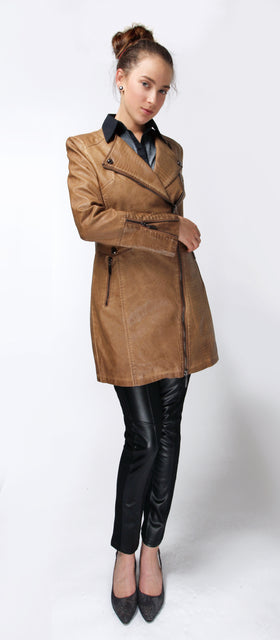 Ladies' Faux Leather Long Jacket