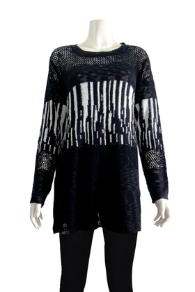 Ladies' Sweater Flowy top with semi-sheer design
