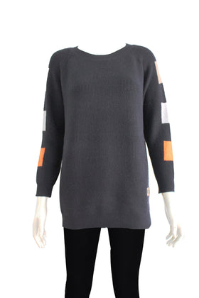 Ladies' Patch contrast color block sleeve sweater