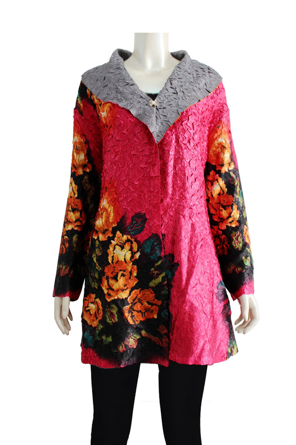 Reversible floral printed shrug