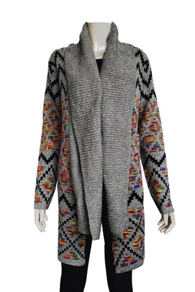 Ladies' Aztec pattern Long Cardigan Sweater