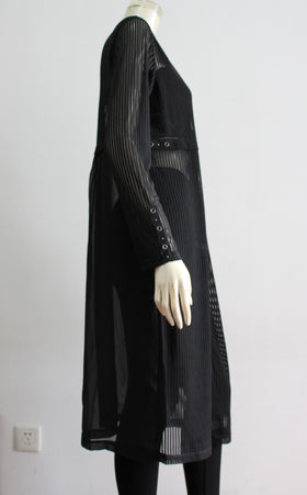 Semi-sheer shrug with long sleeves