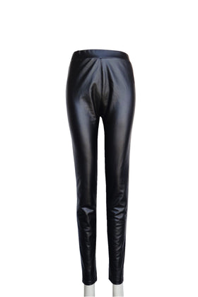 Ladies' Faux Leather legging with fleece lined