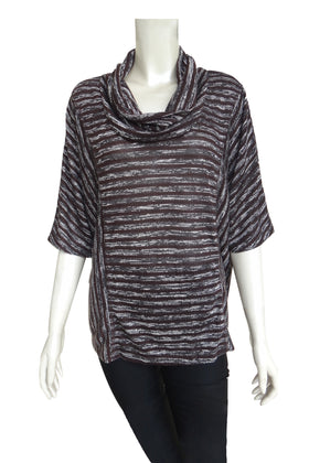 Ladies' horizontal stripe T-shirt