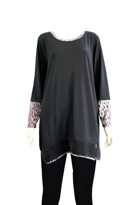 Ladies' leopard printed cuff and hem Knitted dress